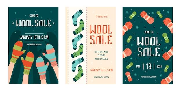 Zestaw ulotek na sprzedaż ręcznie robionych zimowych ubrań
