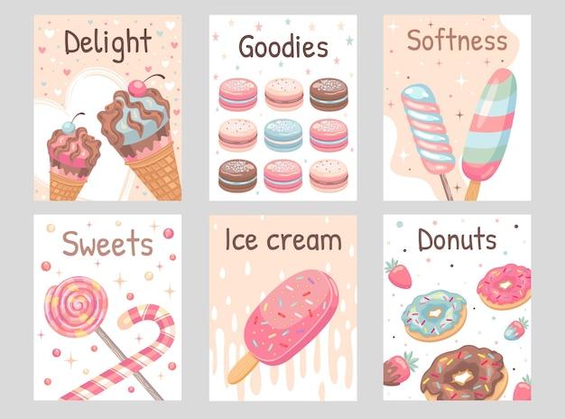 Zestaw ulotek słodyczy. lizaki, pączki, lody, ilustracje makaroników