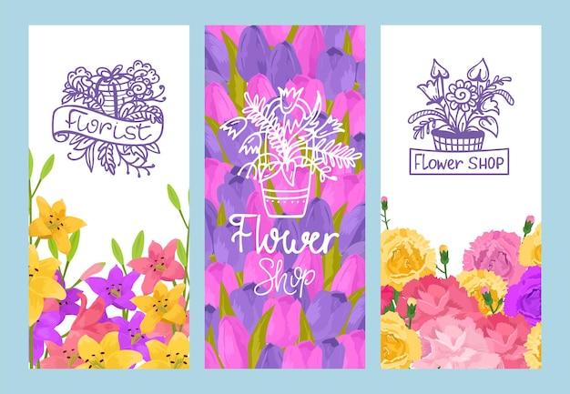 Zestaw ulotek sprzedaży kwiatów wiosny