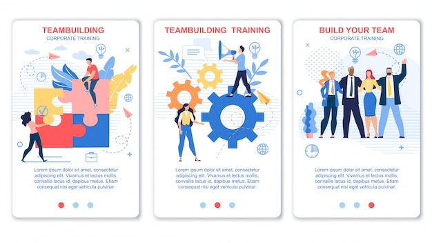 Zestaw ulotek teambuilding and corporate training.
