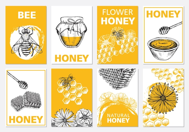Zestaw ulotek z miodem i pszczołami, ręcznie rysowane ilustracje