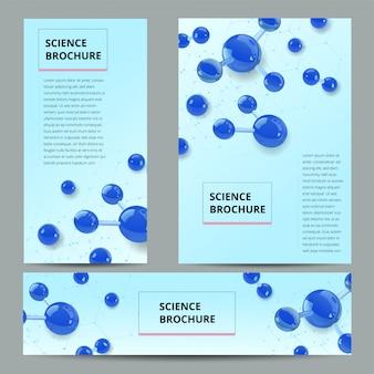 Zestaw ulotki, szablon formatu broszury a4, baner. struktura molekularna z realistycznymi szklanymi kulkami.
