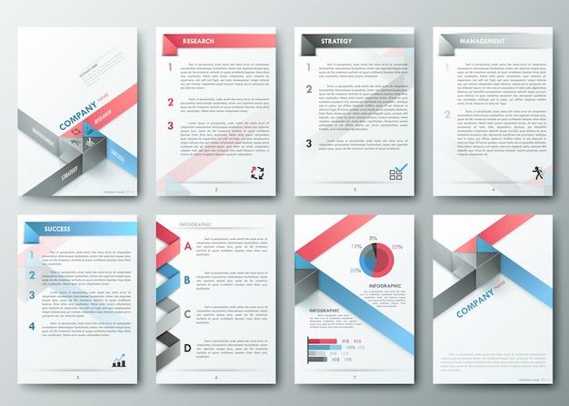Zestaw ulotki, szablony do projektowania broszur