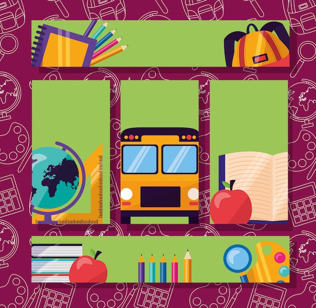 Zestaw ulotki z powrotem do przyborów szkolnych