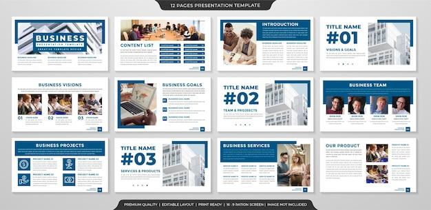 Zestaw uniwersalnego projektu szablonu układu prezentacji biznesowej z nowoczesnym stylem i minimalistycznym wykorzystaniem koncepcji dla rocznego raportu biznesowego i infografiki
