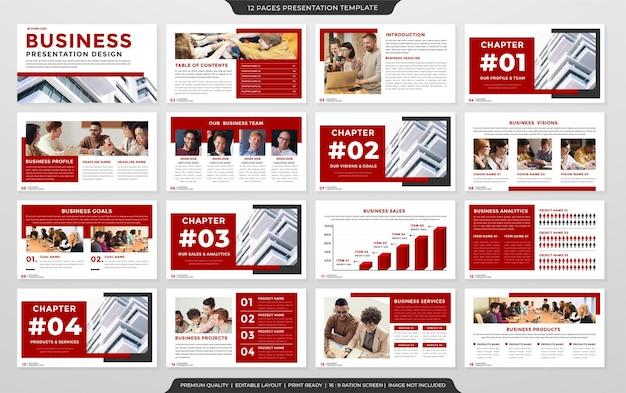 Zestaw uniwersalnego szablonu prezentacji a4 z czystym stylem do marketingu biznesowego i identyfikacji wizualnej