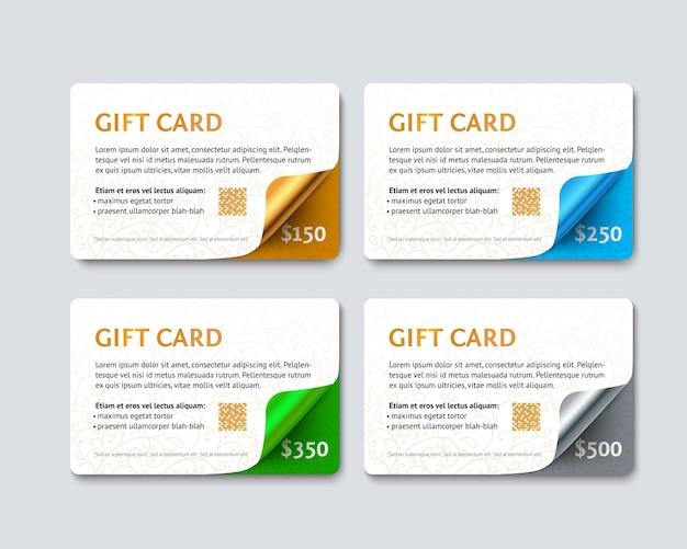 Zestaw upominkowych kart rabatowych ze złotymi, srebrnymi, zielonymi i niebieskimi geometrycznymi zakrzywionymi narożnikami.