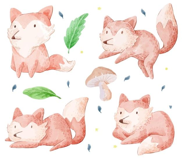 Zestaw uroczego lisa. różne gesty i kolor foxa
