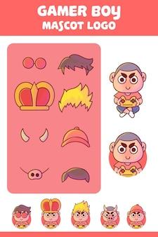 Zestaw uroczego logo maskotki chłopca gracza z opcjonalnym wyglądem.