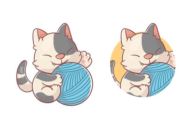 Zestaw uroczego logo maskotki kota i przędzy z opcjonalnym wyglądem premium kawaii