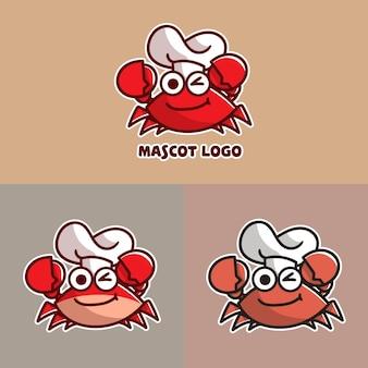 Zestaw uroczego logo maskotki kraba szefa kuchni z opcjonalnym wyglądem.