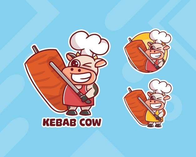 Zestaw uroczego logo maskotki krowy szefa kuchni kebab z opcjonalnym wyglądem.