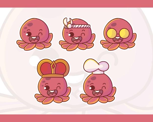 Zestaw uroczego logo maskotki ośmiornicy z opcjonalnym wyglądem