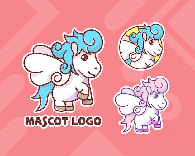 Zestaw uroczego logo maskotki pegaza z opcjonalnym wyglądem.