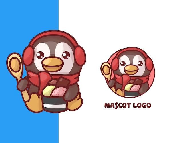 Zestaw uroczego logo maskotki pingwina lodowego z opcjonalnym wyglądem. kawaii