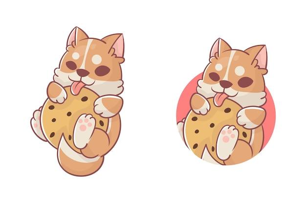 Zestaw uroczego logo maskotki psa i ciasteczek z opcjonalnym wyglądem premium kawaii