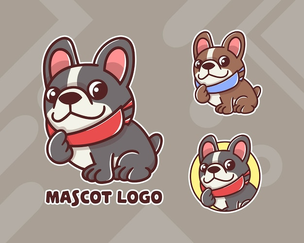 Zestaw Uroczego Logo Maskotki Psa Maskera Z Opcjonalnym Wyglądem. Premium Wektorów
