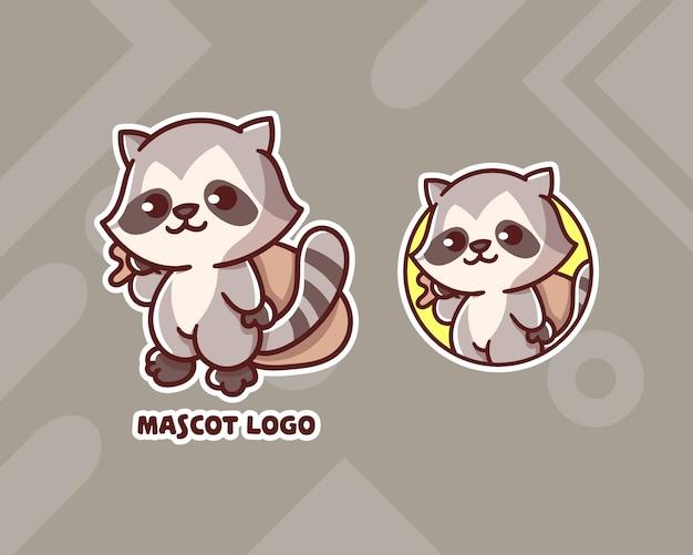 Zestaw uroczego logo maskotki racoon złodziej z opcjonalnym wyglądem.