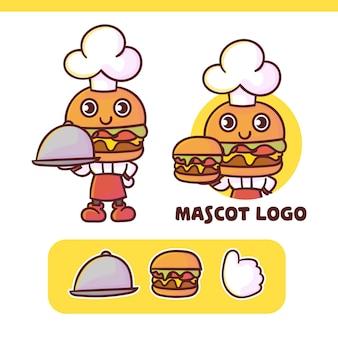 Zestaw uroczego logo maskotki szefa kuchni burgera z opcjonalnym wyglądem, w stylu kawaii