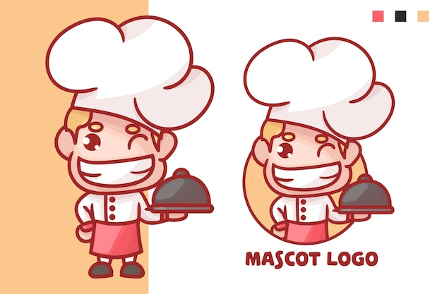 Zestaw uroczego logo maskotki szefa kuchni z opcjonalnym wyglądem. kawaii premium