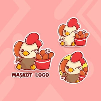 Zestaw uroczego logo maskotki wiadra kurczaka z opcjonalnym wyglądem. kawaii