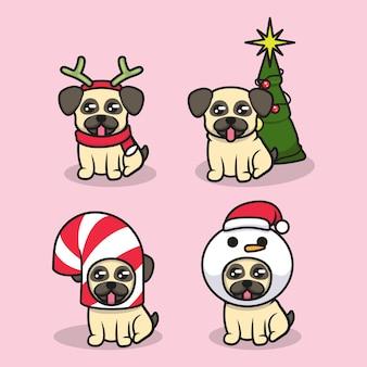 Zestaw Uroczego Psa Mopsa Z Kostiumem świątecznym Premium Wektorów