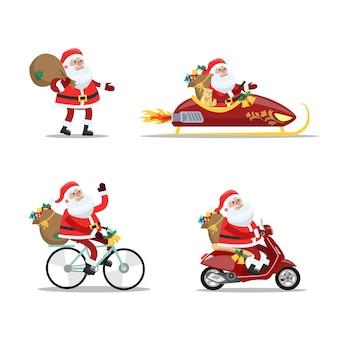 Zestaw uroczego, zabawnego świętego mikołaja z torbą pełną prezentów przy użyciu różnych pojazdów, takich jak rower i sanki. wesołych świąt i szczęśliwego nowego roku. ilustracja