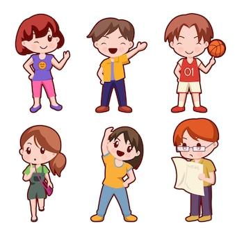 Zestaw uroczej kolekcji postaci z kreskówek dziewczyny i chłopca, ilustracja na białym tle