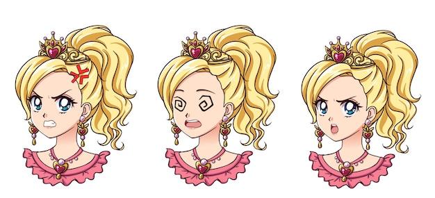Zestaw uroczej księżniczki anime z różnymi wyrazami twarzy. blond włosy, duże niebieskie oczy, złota korona.