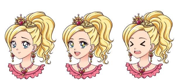 Zestaw uroczej księżniczki anime z różnymi wyrazami twarzy. blond włosy, duże niebieskie oczy.