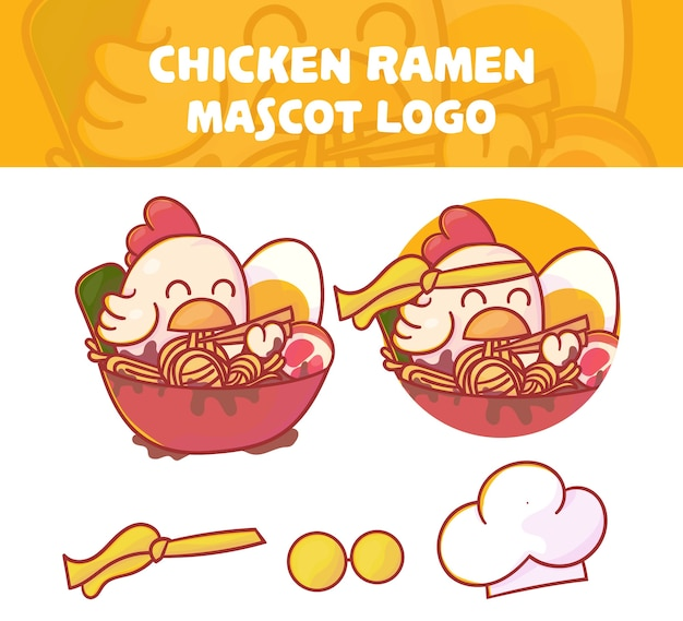 Zestaw uroczej maskotki ramen kurczaka z opcjonalnym wyglądem.