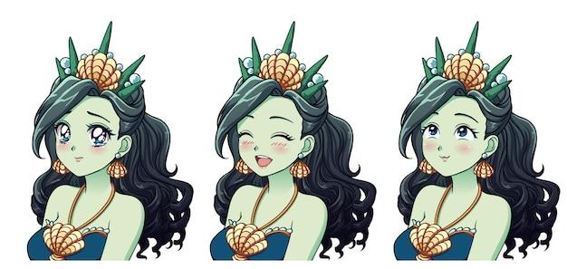 Zestaw uroczej morskiej księżniczki anime z różnymi wyrazami twarzy
