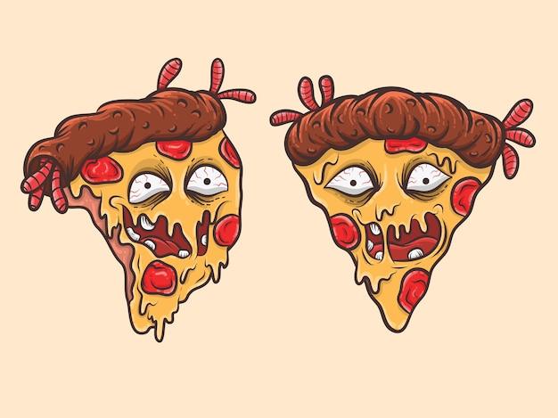 Zestaw uroczej pizzy zombie maskotka postać z kreskówki