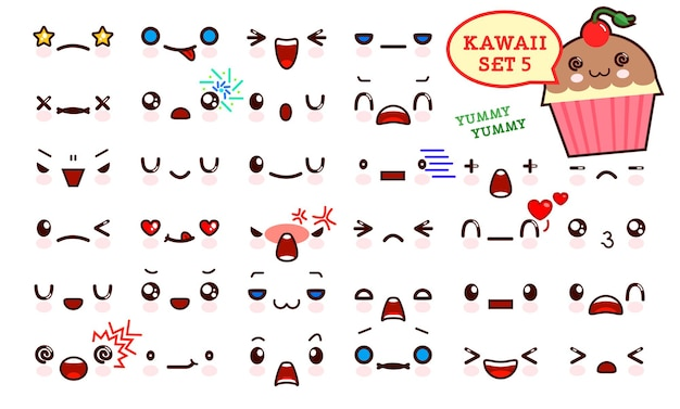 Zestaw uroczej twarzy emotikonów kawaii i słodkiego ciasta kawaii