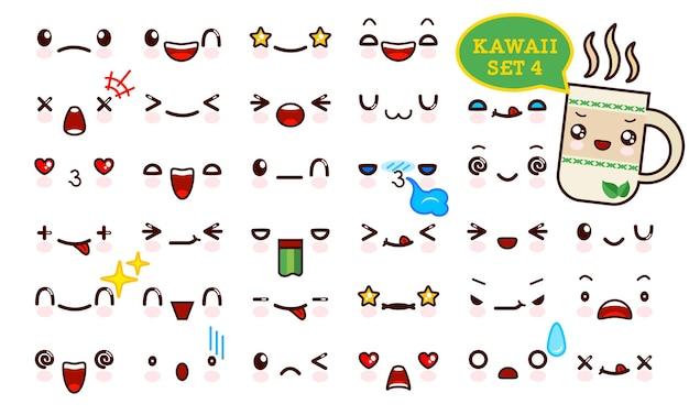 Zestaw uroczej twarzy emotikonów kawaii i słodkiej herbaty kawaii