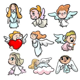Zestaw uroczych aniołów z zabawną twarzą i lekkimi skrzydłami. styl kreskówki.