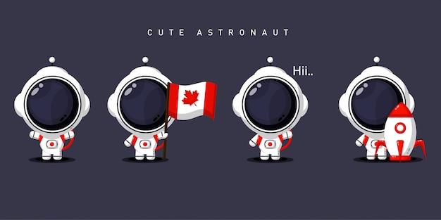 Zestaw uroczych astronautów