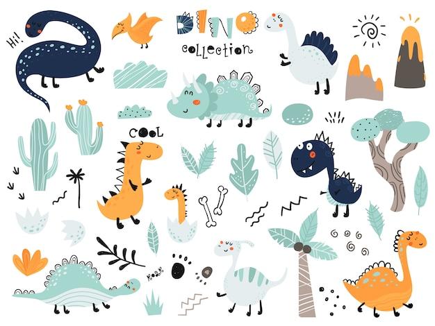 Zestaw uroczych dinosautów, liści, wulkanu, kaktusa