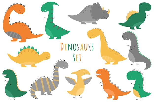Zestaw uroczych dinozaurów