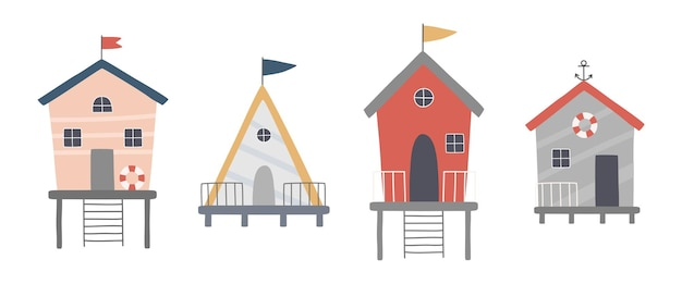 Zestaw uroczych domków na plaży