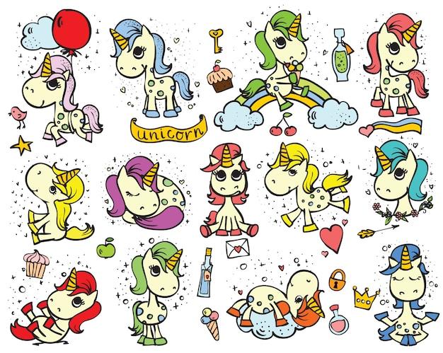 Zestaw uroczych doodle magicznych jednorożców i magicznych rzeczy do projektowania kart okolicznościowych dla dzieci, nadruk koszulki, plakat inspiracji.