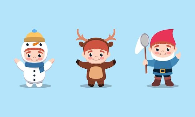 Zestaw uroczych dzieci z świąteczną ilustracją kostiumową