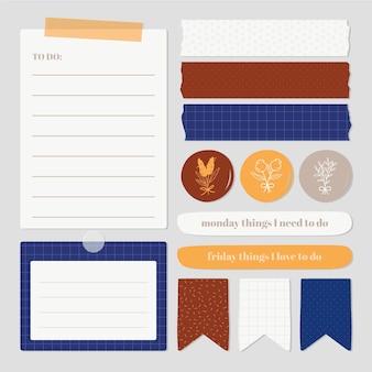 Zestaw uroczych elementów notatnika planera