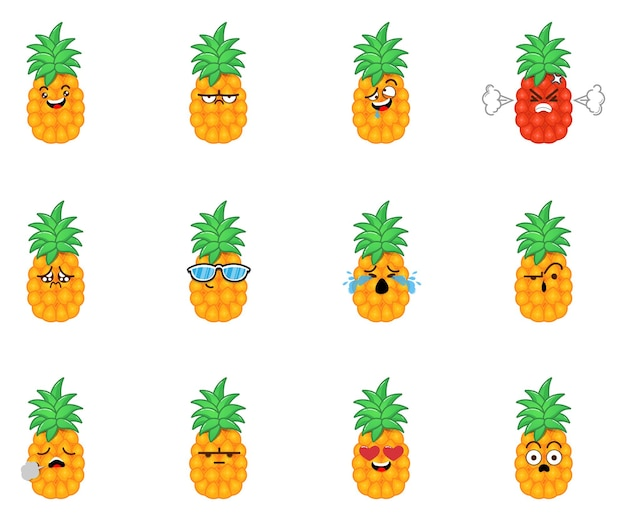 Zestaw uroczych emotikonów ananasów ładny wyraz twarzy kreskówek ananasów
