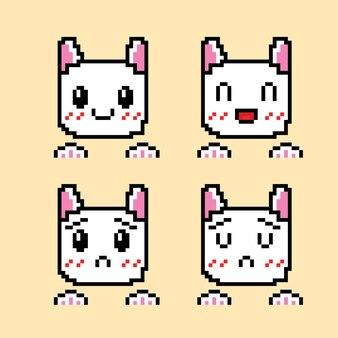 Zestaw uroczych emotikonów z białym kotem w stylu pixel art