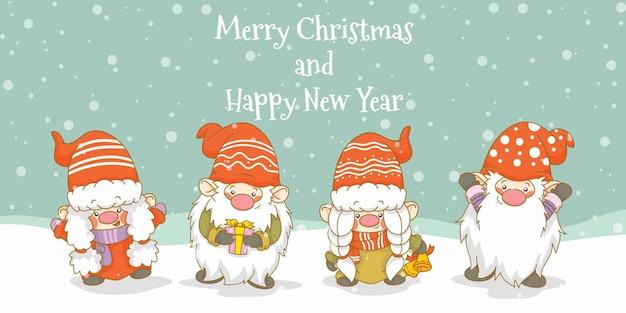Zestaw uroczych gnomów z banerem powitalnym świąt i nowego roku