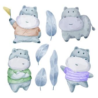 Zestaw uroczych hipopotamów. różne gesty i kolor hippo