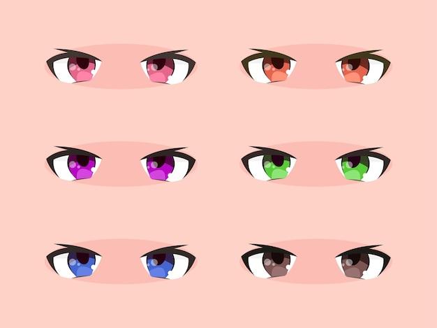 Zestaw uroczych i fajnych oczu kawaii anime manga