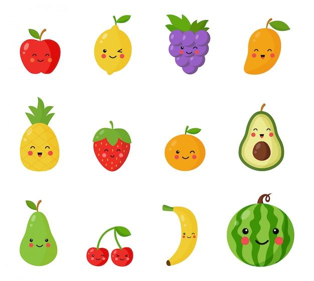 Zestaw uroczych i szczęśliwych owoców i jagód kawaii.