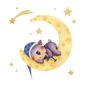 Zestaw uroczych ilustracji akwarelowych z koalą śpiącą na księżycu i gwiazdach